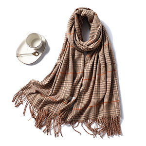 Printed striped fringed cashmere scarf