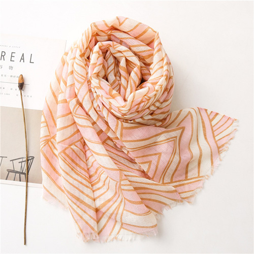 2021 Fashion cotton scarf fringed print scarves