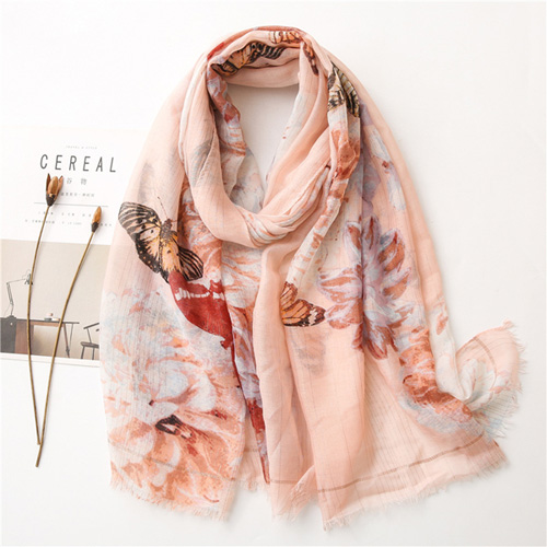 Butterfly gold thread cotton linen scarf snow voile shawl