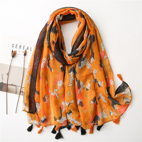 Cotton linen scarf women fashion gold silver silk scarves