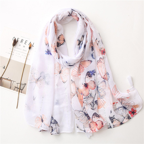 Butterfly print scarves sequined cotton linen beach scarf