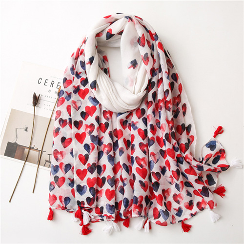 Red love cotton scarf silk shawl for women wholesale