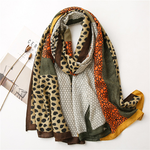 Leopard print cotton linen scarf women winter wholesale shop
