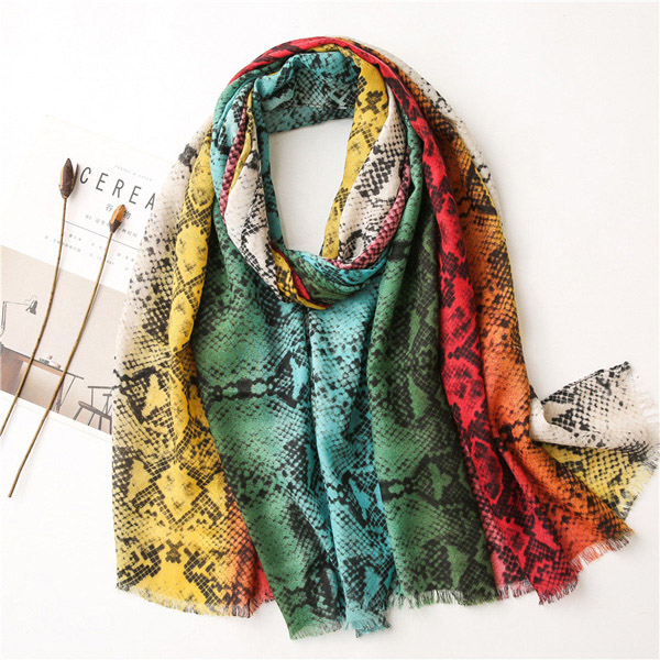 Women color neon leopard print cotton linen long warm shawl