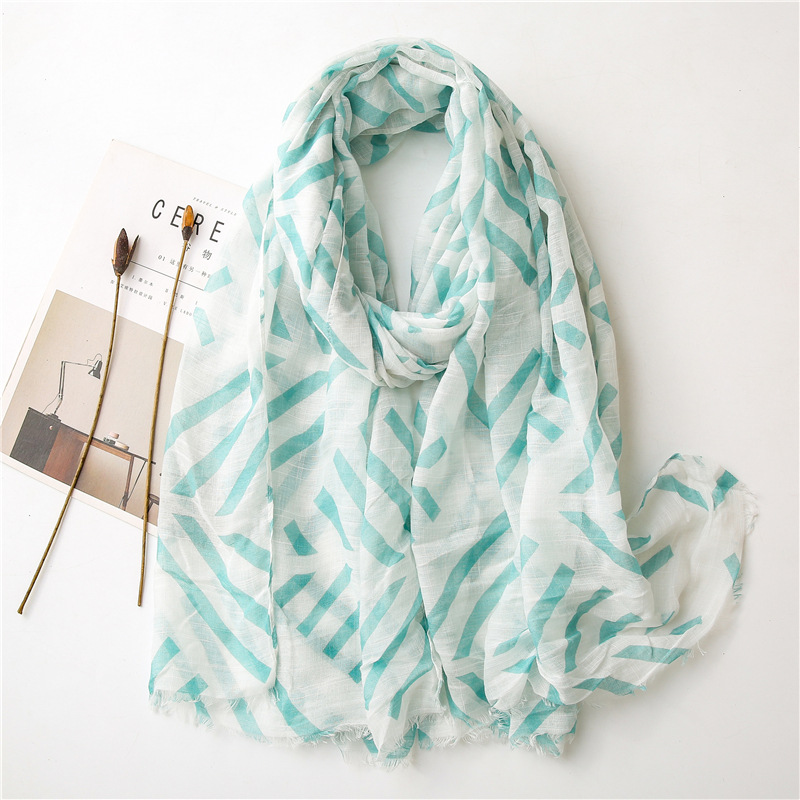Blue geometric cotton linen scarf woman seaside sunscreen shawl