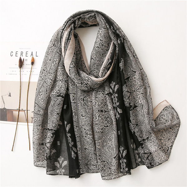 Wholesale Cotton Scarves Black Grey Lace Cotton Linen Women scarf China