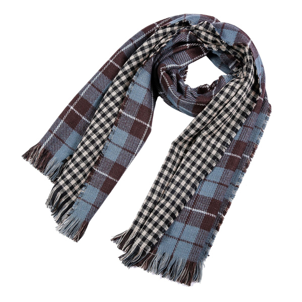 Fringed Plaid Blue Womens Winter Scarf China