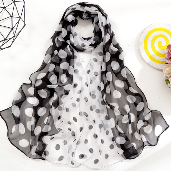 China gradient polka dot silk scarf for women