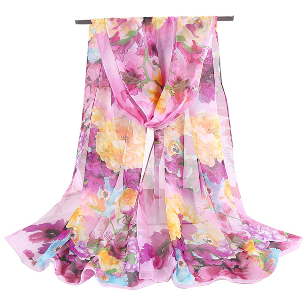 Sunscreen scarf peony lady chiffon long silk scarf wholesale