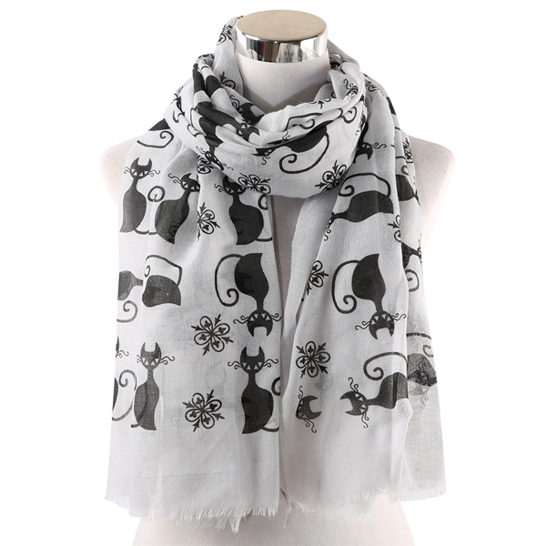 Cat print scarf woamn cotton shawl wholesale