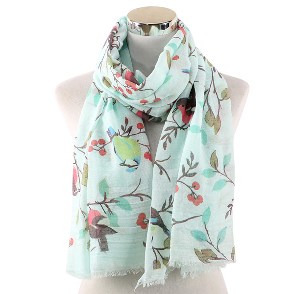 Branch bird scarf women Cotton shawl wholesale