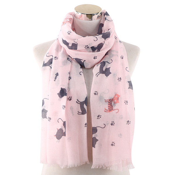 Cat footprints printed scarf coton casual collar wholesale