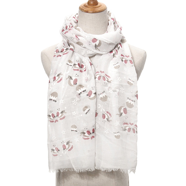 Christmas bird snowflake print scarf for woman