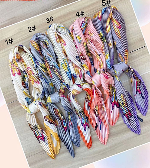 70cm Pleated tie silk scarf Canada