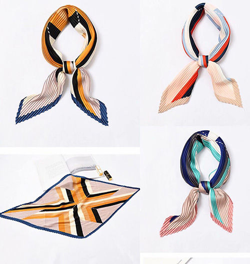 French pleated women silk scarf gifts