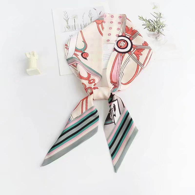 China Silk Satin Headband Hair Tie Scarf for Women
