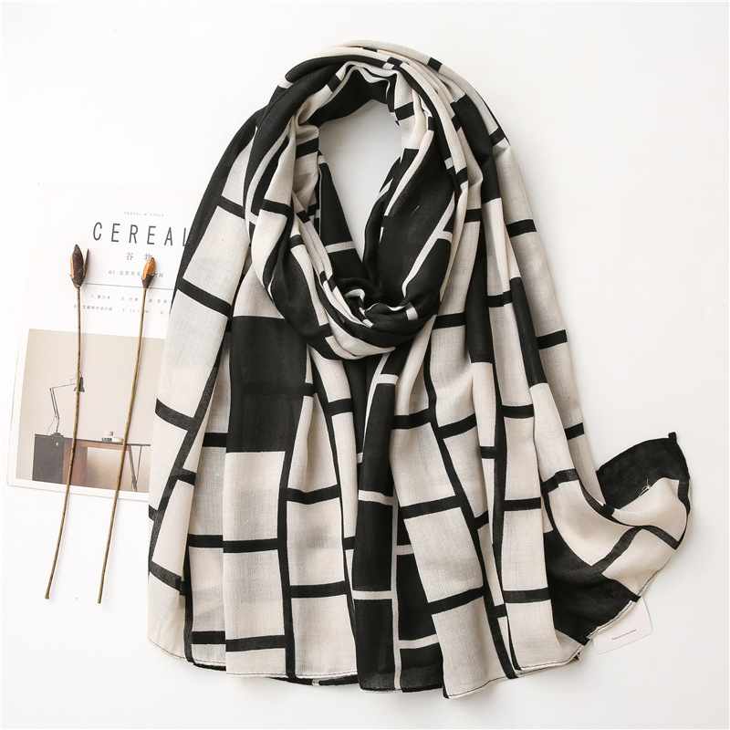 Wholesale cotton linen scarf black white large plaid shawl China