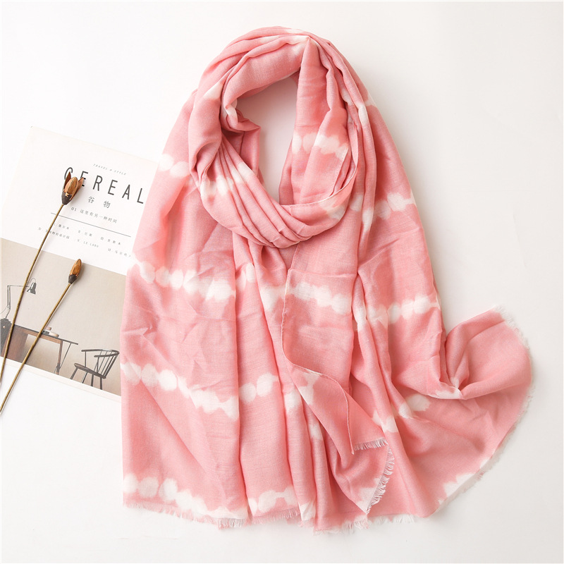 Wholesale pink cotton linen scarf women striped print shawl