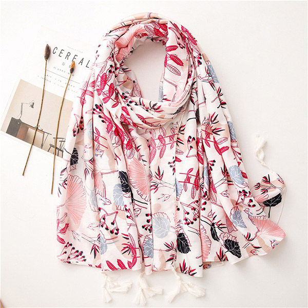 Plant floral scarf women beach towel twill cotton shawl wholesale
