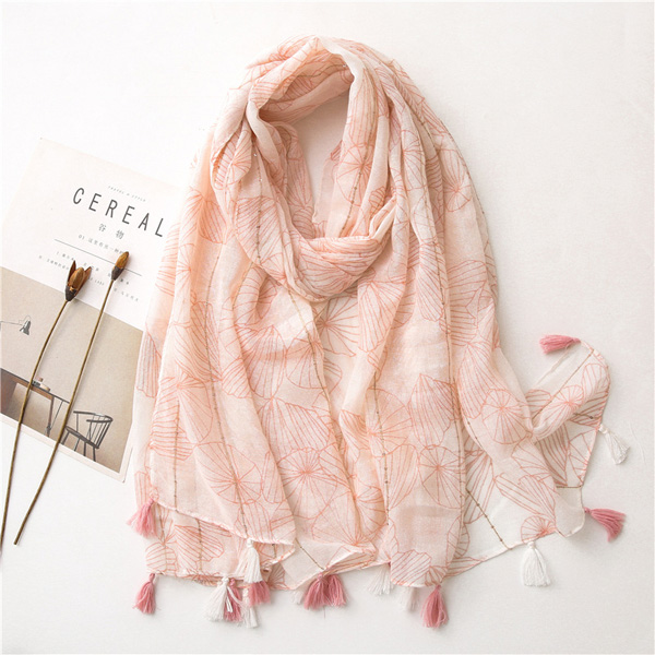 Women pink cotton linen scarf Sequin decoration print tassel shawl