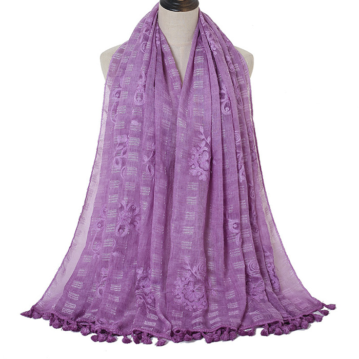 Embroidery scarf cotton tie dyed tassel scarf factory wholesale