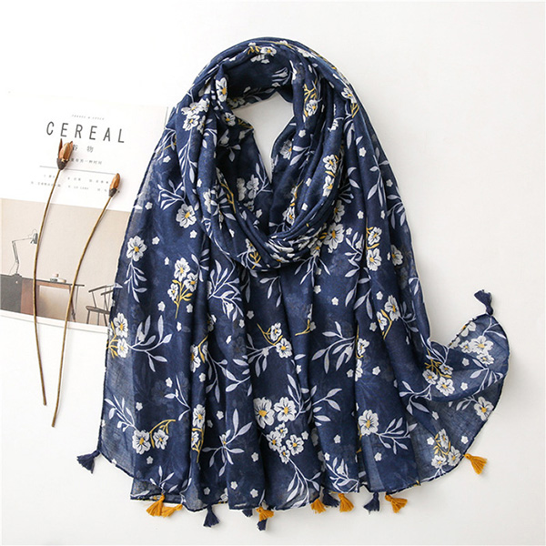 Bohemian ethnic style cashew color matching cotton linen scarf women