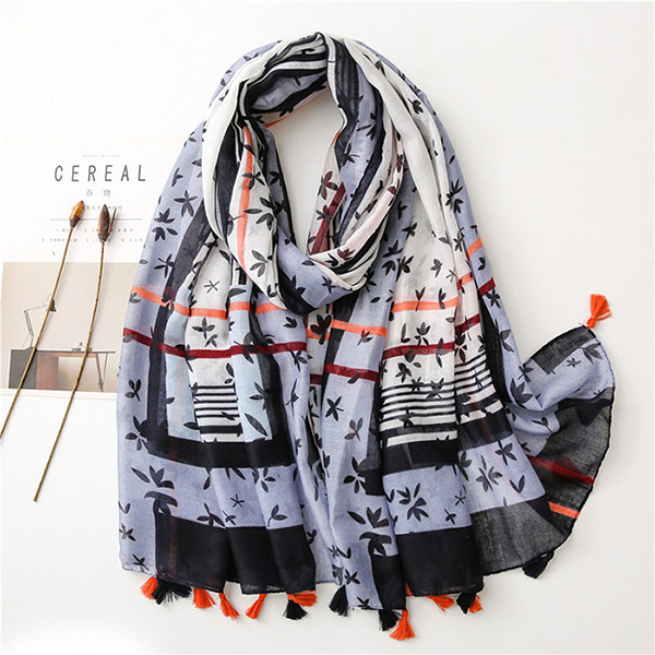 Floral striped cotton linen silk scarf fringed voile lady shawl