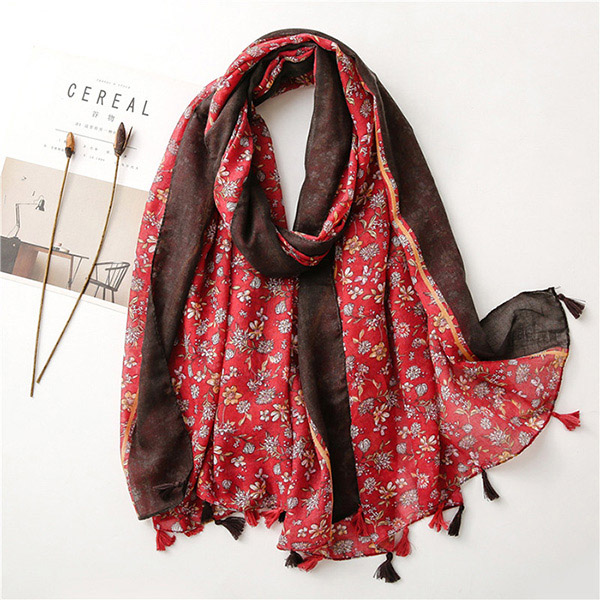 Spanish women cotton linen flower scarf shade shawl wholesale