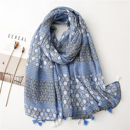 Fashion Blue cotton scarf plaid women travel shawl Wholesale