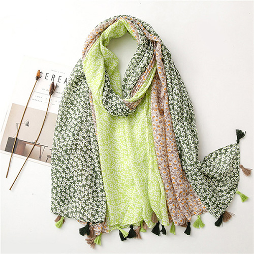 Indonesia three-color daisy sunscreen cotton linen scarf fringed shawl scarf