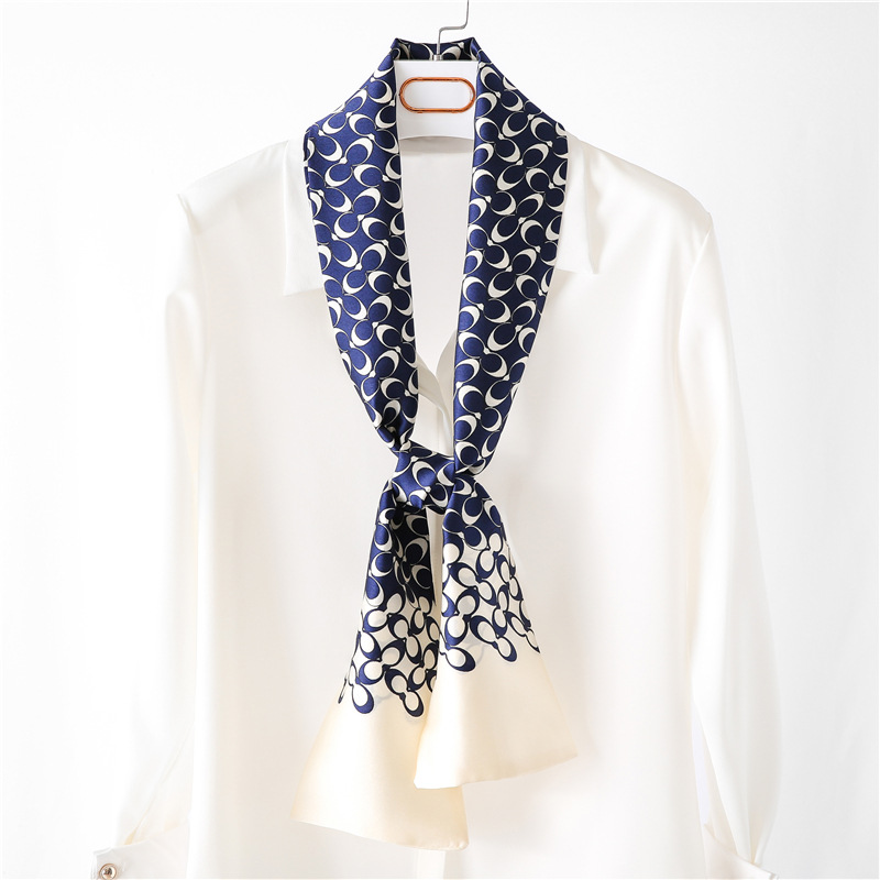 Blue Silk Scarf Long Tie Scarf Women Polka Dot Scarves Supply