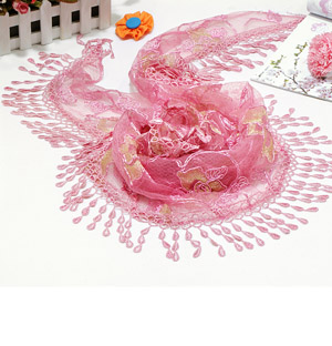 Lace scarf cotton print