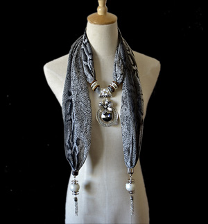 Pendant Necklace Scarf,Jewel Beads Pendant Scarf Necklace