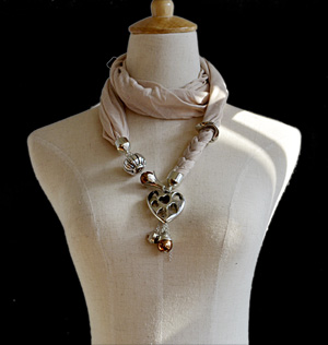 scarves with jewelry attached