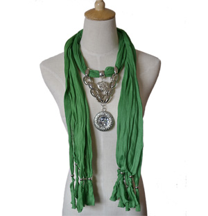 Scarf with Heart Pendant
