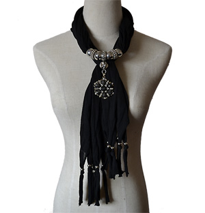 Jewelry Charm Scarf with Leaf Pendant
