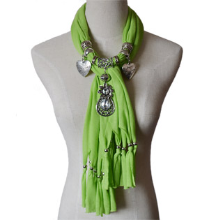 Polyester Jewelry Scarf with Bead Pendant