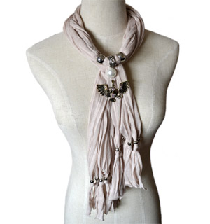 Pearl Jewelry Scarf with Owl Pendant