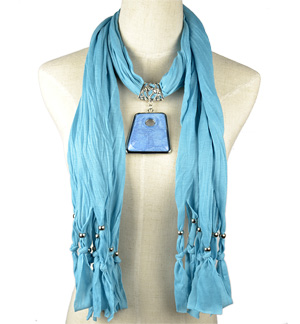 Jewelry Scarf with Pendant Charm Cotton Necklaces