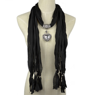 Pendant scarf jewelry scarves