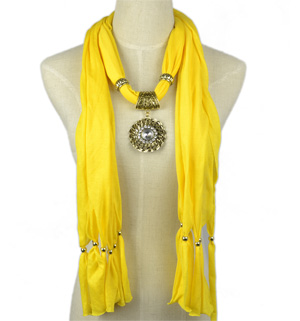 scarf necklace with jewelry pendant