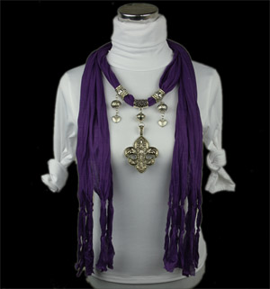 pendant scarf with necklace jewellery