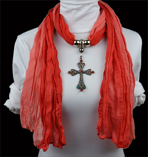 Europe Fashion Design Cross Pendant Necklace Scarf