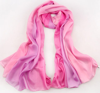 Silk jewelry scarves widened to increase shawl
