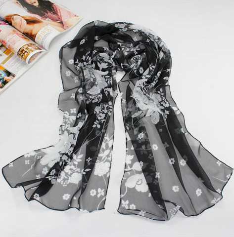 Flowers silk scarf china scarf manufacturers