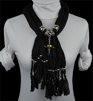 Skull alloy necklace pendant scarf