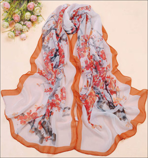 Plum silk scarf new scarf