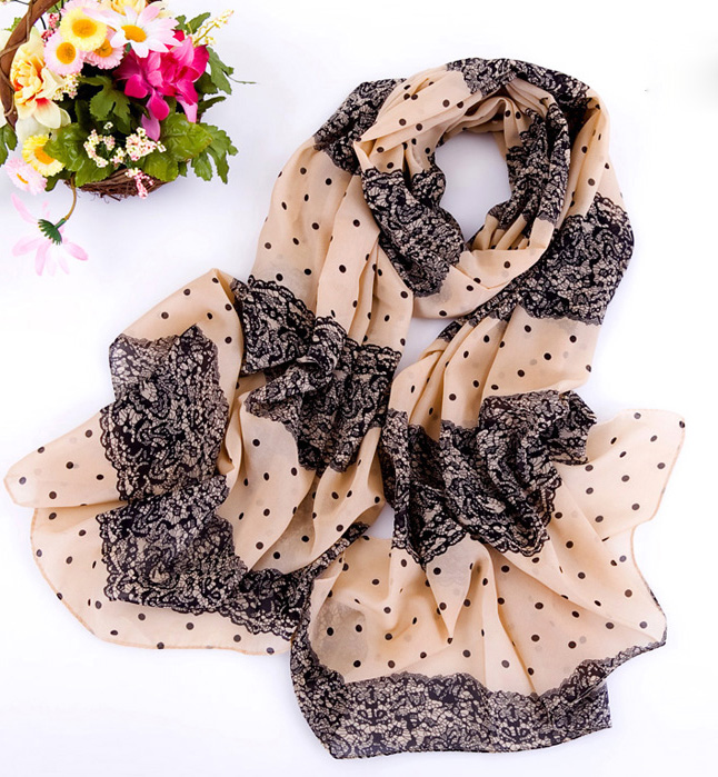 wholesale usa creen scarves lace dot silk scarf