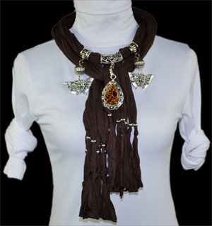 Fashion Alloy amber pendant jewelry scarf