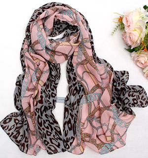 Chain leopard silk chiffon scarf wholesale